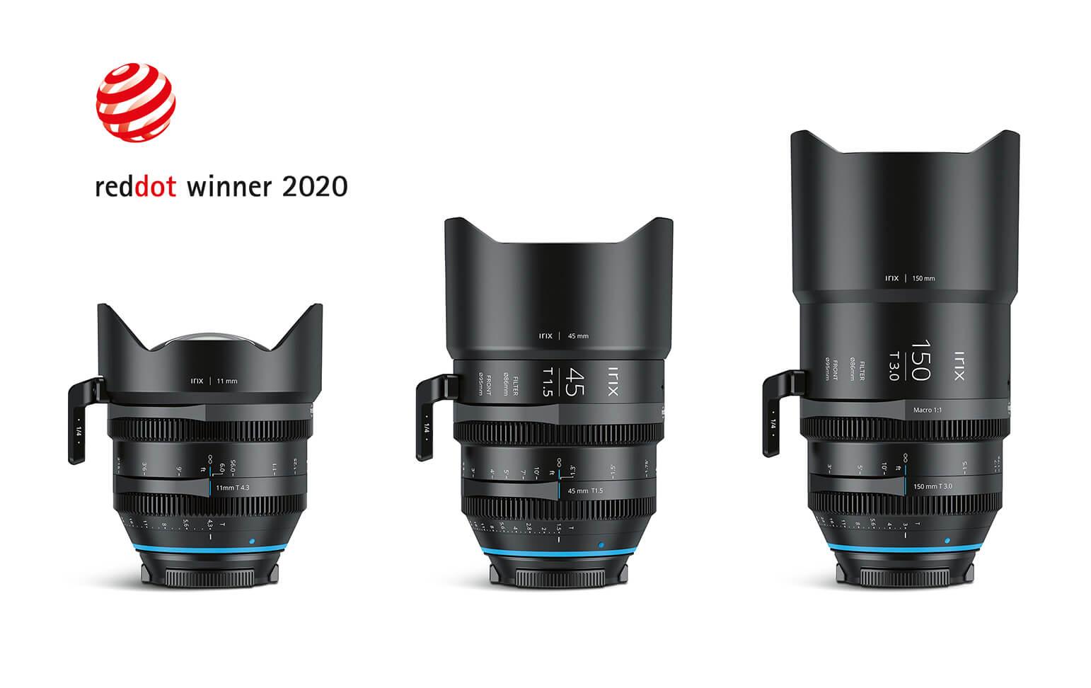 3 obiektywy do aparatu fotograficznego na białym tle. W rogu logo konkursu RedDot Winner 2020