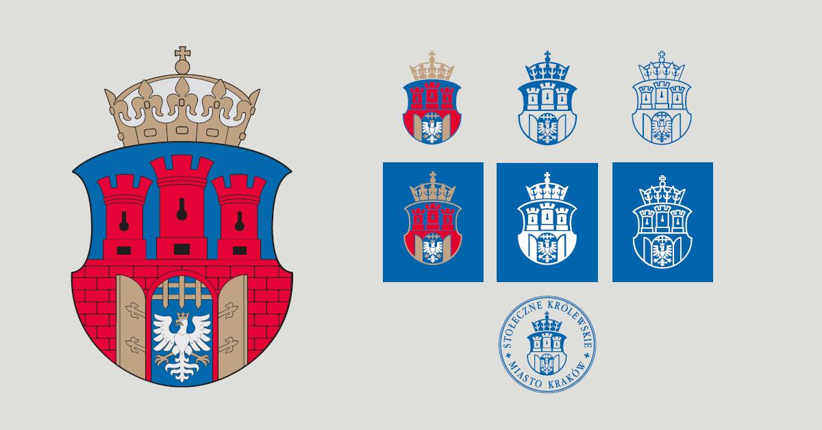 Zestaw różnych wariantów herbu Miasta Krakowa. Każdy z nich przedstawia Białego Orła umieszczonego w bramie miasta. Mury miasta z trzema wieżami są czerwone, tło błękitne.