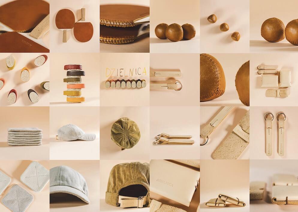 zbiór fotografi przedstawiających elementy projektu: paletki do ping-ponga; skórzane piłki, breloczki i portfele; ręcznie szyte czapki z daszkiem.